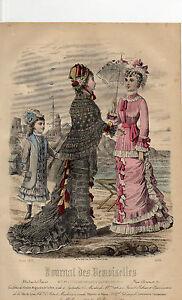 """11/ Gravure De Mode """" Journal Des Demoiselles """" 1878 Superbes Couleurs !"""