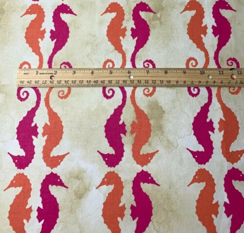 Waverly P//K Side by Side Mimosa Pink Orange Sand Seahorse Fabric By The Yard