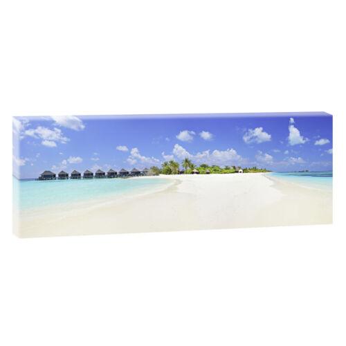 Panorama Bild Leinwand Poster Wandbild Meer Strand XXL 120cm* 40cm Malediven 228