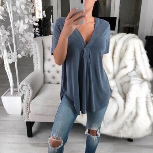 Damen Chiffon Hemd Bluse Sommer Freizeit Tunika Hemdshirt T-shirts Top Oberteile