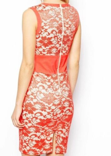 Tempest Jayme V Neckline Floral Lace Pencil Dress Size 6-16 BNWT RRP £125 Coral