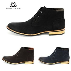 Mens Flat Suede Ankle Slip On Ankle Boots Smart Casual Fashion Chelsea Shoes NN