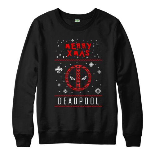 DEADPOOL Christmas Jumper Marvel Comics Natale Festive Adulti /& Bambini Maglione Top