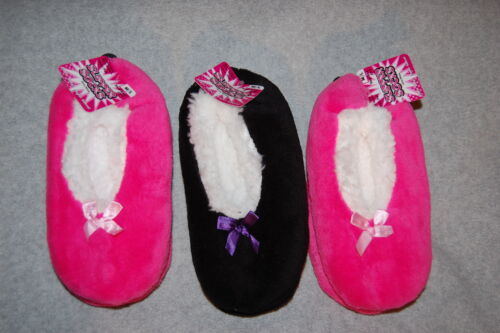Girls 3 PAIR LOT SOCK SLIPPERS Booties SHERPA LINED Solid PINK /& BLACK Sz M-L