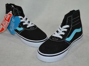 80ea91ce76a Vans Maddie Black Blue High Top Zip Toddler Girl s Shoes - Size 7 8 ...