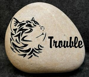 """BEAUTIFUL CAT MEMORIAL 6"""" (approx.size) STONE ENGRAVED PERSONALIZED with NAME"""