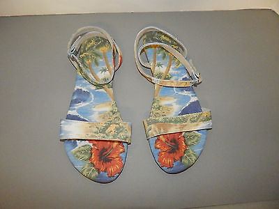 FREE PEOPLE sz 8 or 38 SANDALS SHOES FLATS TROPICAL BLUE MIX FABRIC