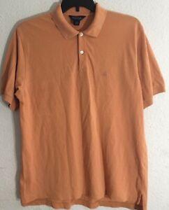 Brooks-Brothers-Men-039-s-Short-Sleeve-Peach-Orange-Polo-Shirt-Size-L