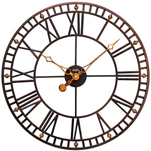 NEU-grosse-AMS-Wanduhr-Metall-Uhr-antik-Optik-vintage-retro-shabby-roemisch-60-cm