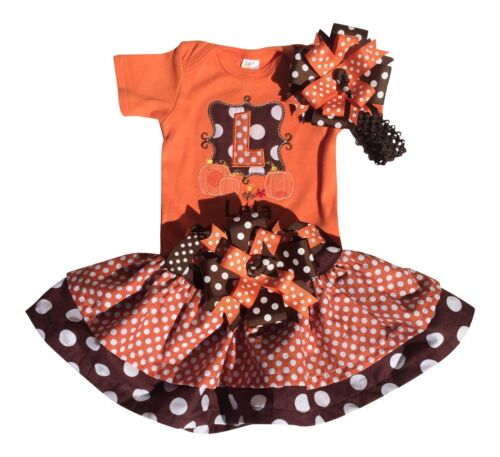 Baby Girls Personalized Thanksgiving Outfit with Matching Bow and Belt