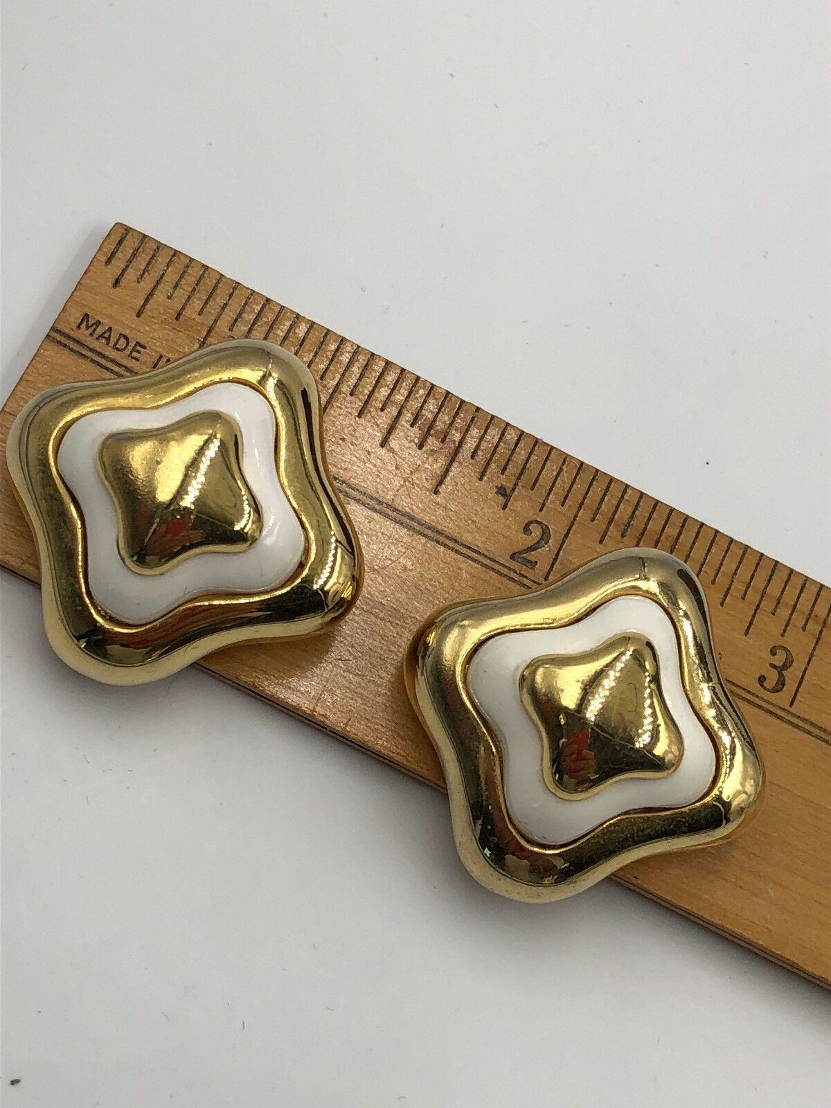 VINTAGE LANVIN SIGNED GOLD ENAMEL EARRINGS CLP FR… - image 9
