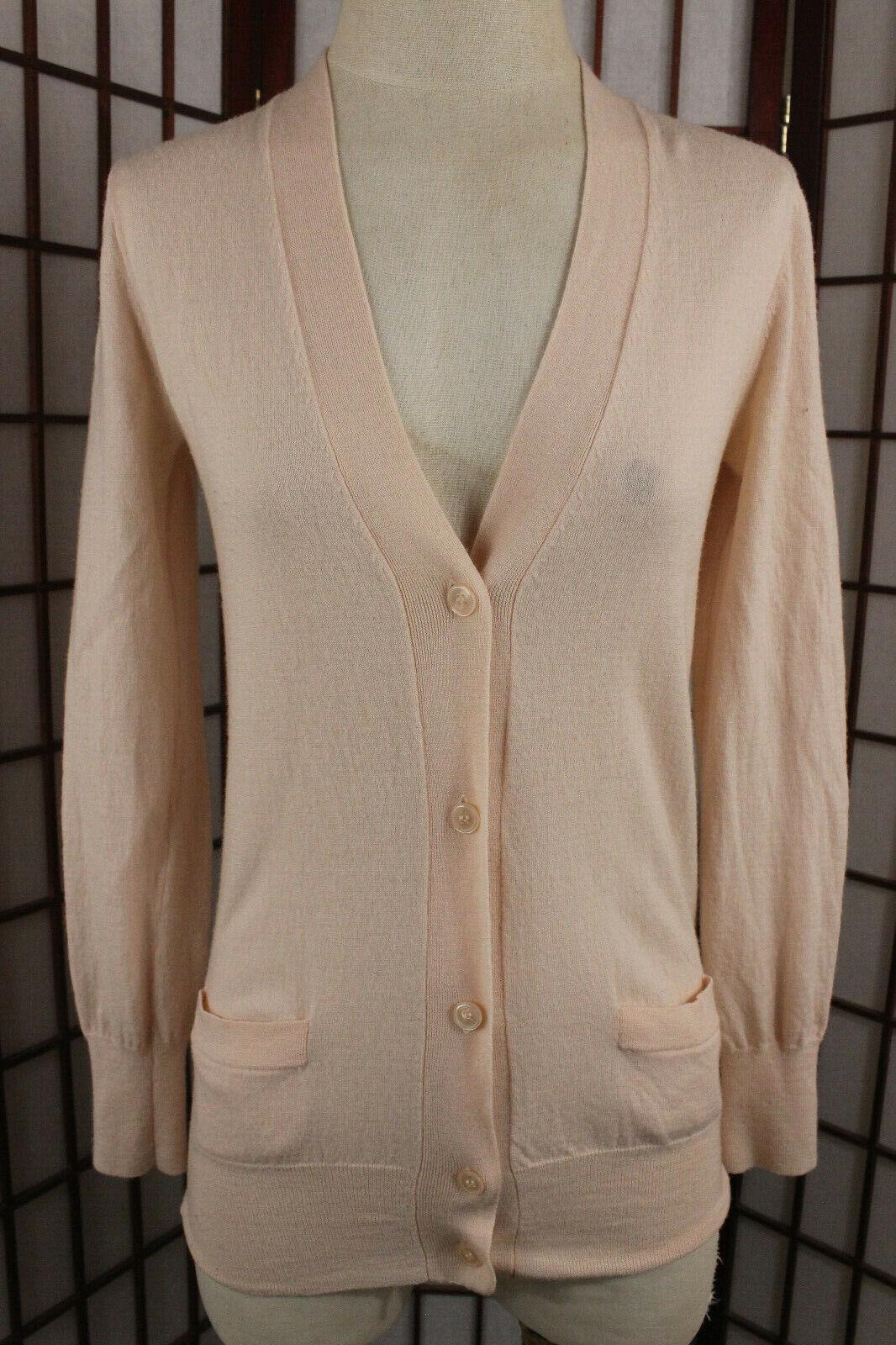 J Crew Merino Wool Classic Cardigan Sweater Sz Medium Peach Pink Semi Sheer