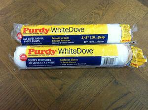 2 X 12 Purdy Blanc Plongé Medium Pile Rouleau Peinture Manches 3/8 Poil Texture Nette
