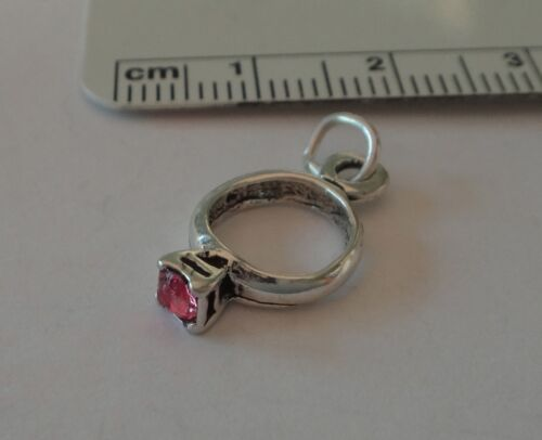 Sterling Silver 3D 18x10mm October Pink crystal Birthstone Ring Charm