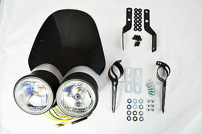 High Quality Retro Streetfighter Motorcycle Motorbike Headlight Kit & Flyscreen