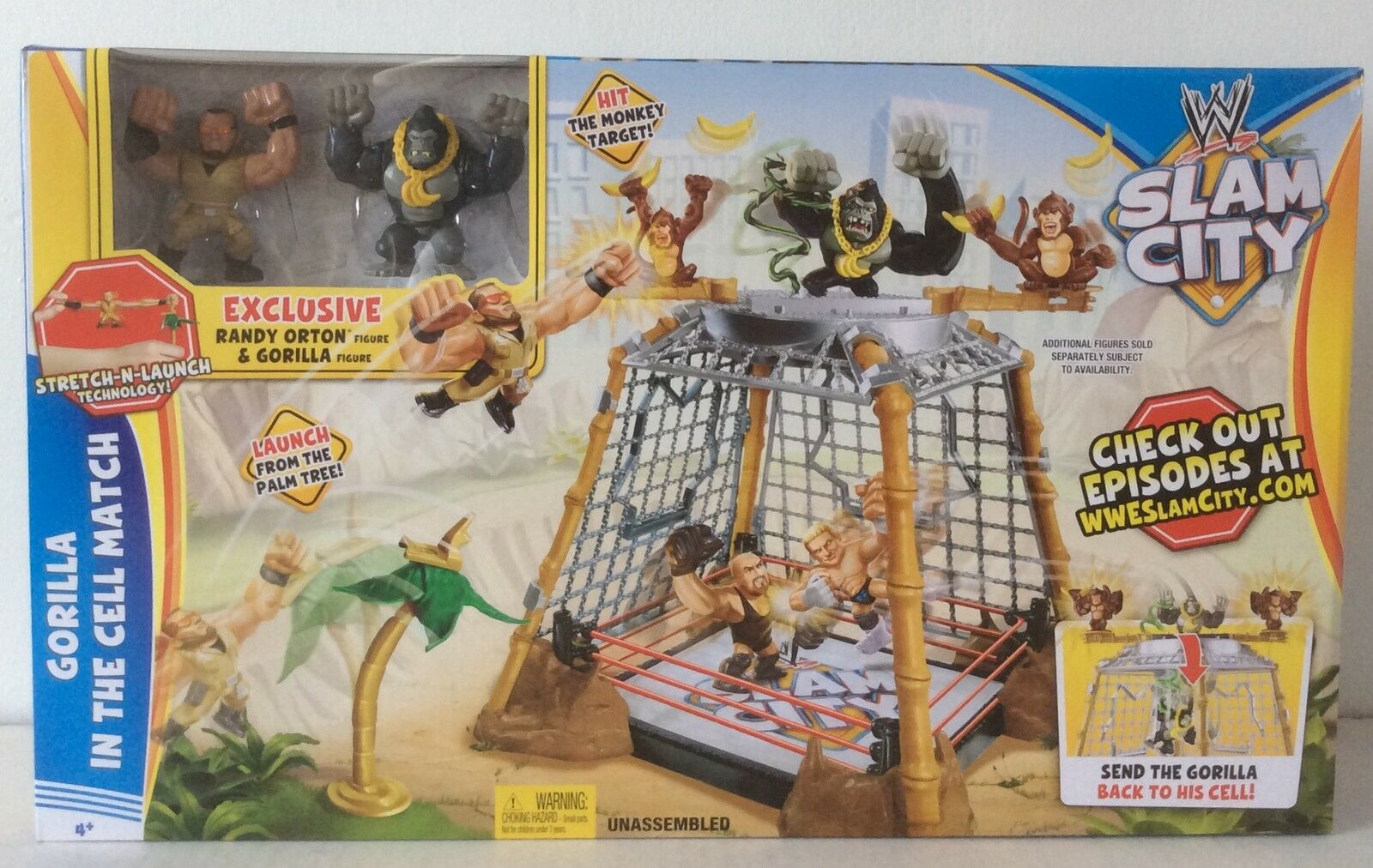 WWE SLAM CITY GORILLA IN THE CELL MATCH RANDY ORTON & GORILLA FIGURES