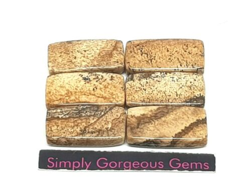 20 10 mm 6 Pretty Rectangle shaped Picture Jasper Beads