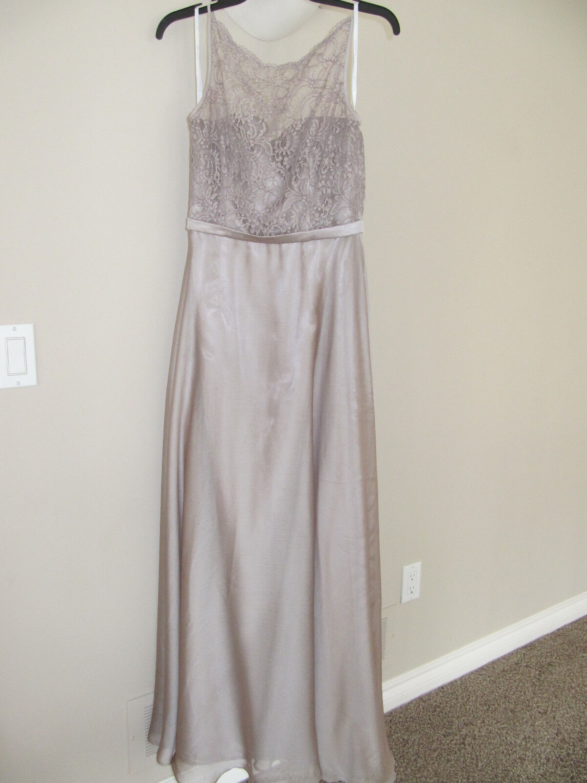 Belsoie Bridesmaid Champagne/Taupe Lace Top Long Gown / Dress US Size 6