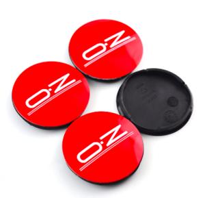 Schwarz Rot 4 x 56mm OZ Racing Logo Alufelge Nabendeckel Satz