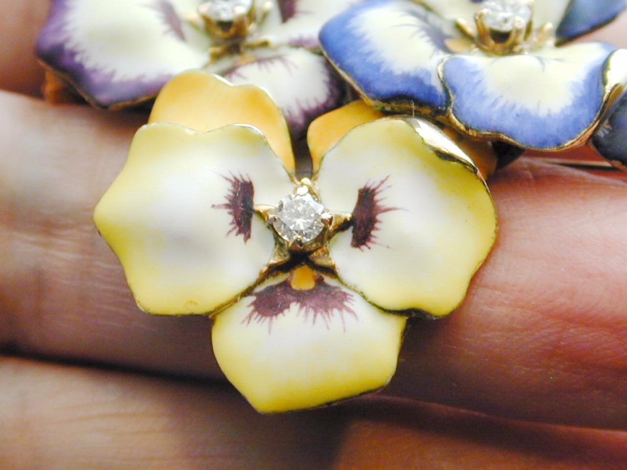RARE 14k Gold & Diamond Enamel TRIPLE Pansy Pin P… - image 5