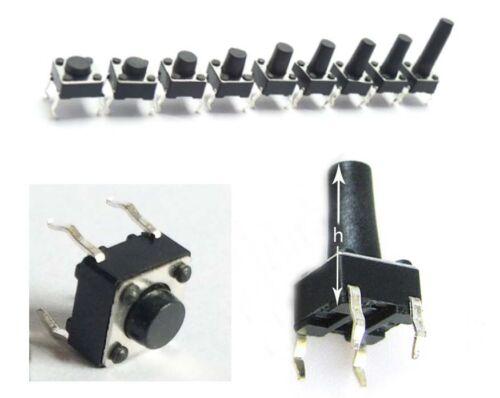 100 un. 6*6*5mm 4pin Calidad Mini Micro Switch Momentáneo Táctil Botón Pulsador