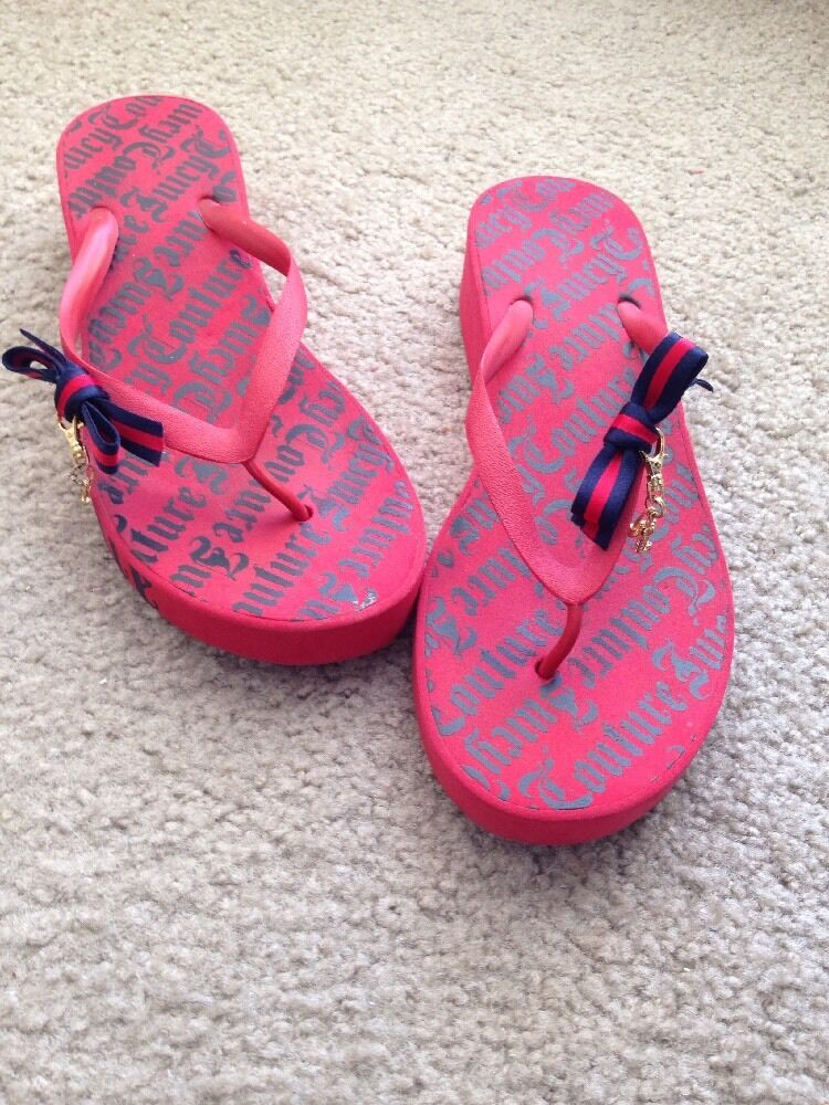 Juicy Couture Red/Blue Flip-Flops Bow Wedge Sandals Size Medium 10 Bow Flip-Flops Charm 5a81eb