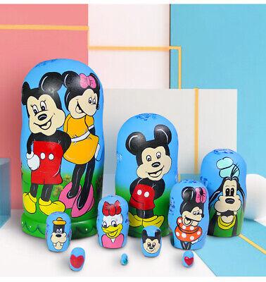 10Pcs Russian Nesting Doll Handpainted Panda Stacking Wooden Matryoshka Toy Set