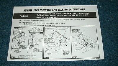 1961 Chevy Impala Hardtop Jacking Instruction Decal  *FREE SHIPPING* USA MADE