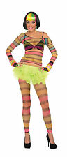 Sexy Neon Rainbow Fishnet Top & Leggins Hippie Disco Groovy Pop Mod Costume