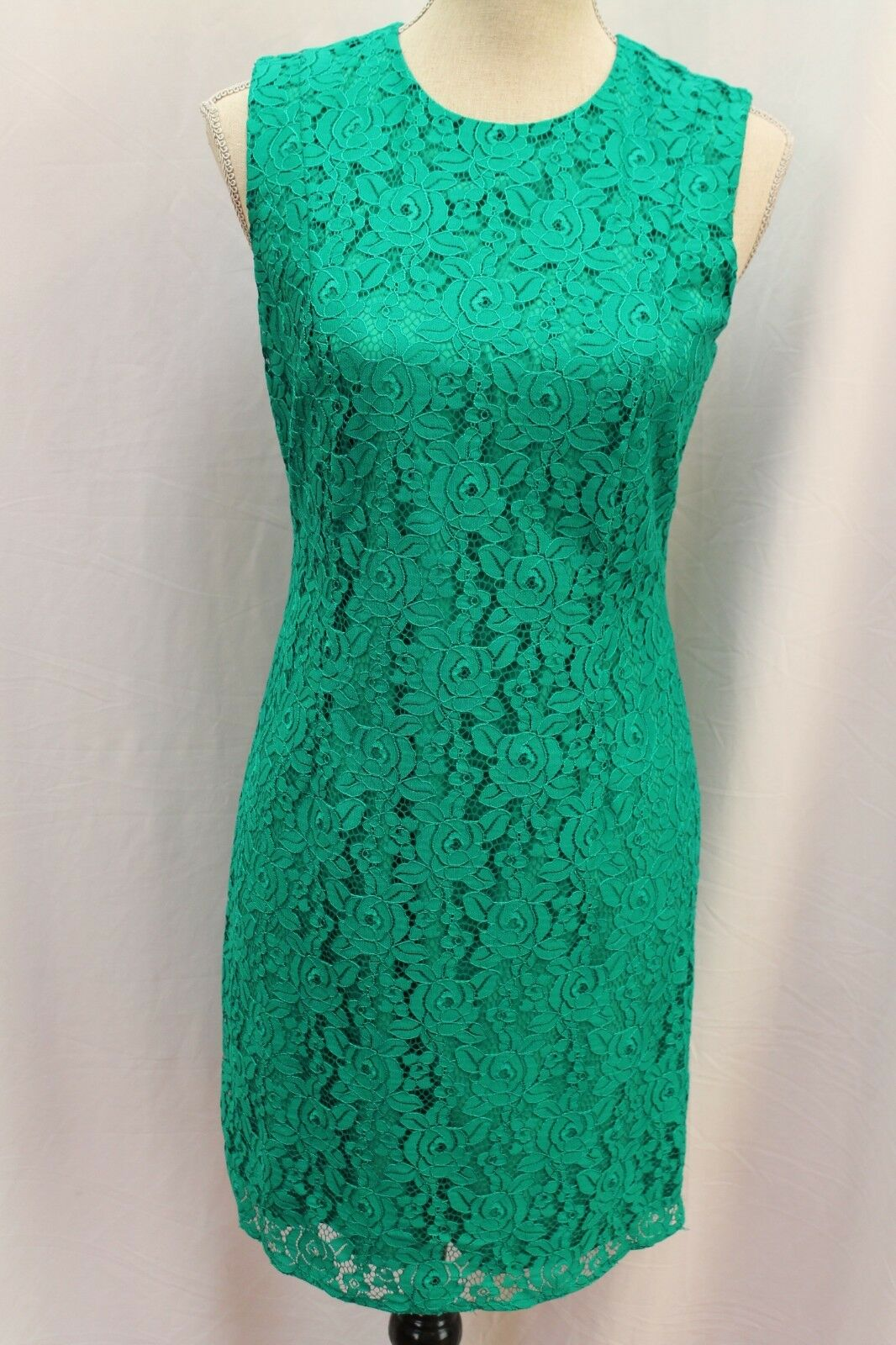 NEW Diane von Furstenberg DVF Tailored Lace Green Evergreen Dress 4 S Small  448