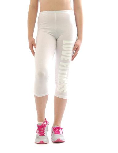 Capri 3//4 Leggings LOVE FITNESS Schrift Baumwolle kurze Sport Hose