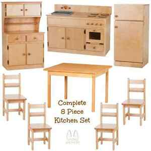 complete kitchen play set 8pc natural birch amish