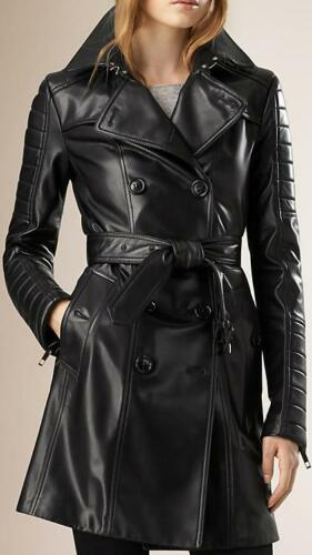 Genuine Coat Black Leather Women Trench 1vHqn4