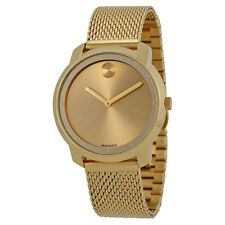 New Movado Bold Gold Dial Gold Ion-plated Mesh Bracelet Women's Watch 3600242