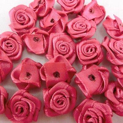 Hot Pink Satin Ribbon Roses 15mm Appliques Scrapbooking Sewing Craft JMSR
