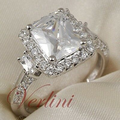 c94854891 Details about 3.75 Ct Emerald Cut Cubic Zirconia Engagement Ring 925 Sterling  Silver Size 5-10