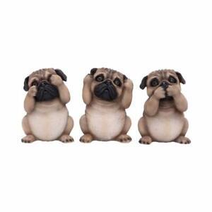 Three Wise Pugs - Cute 3 Dog Figurines
