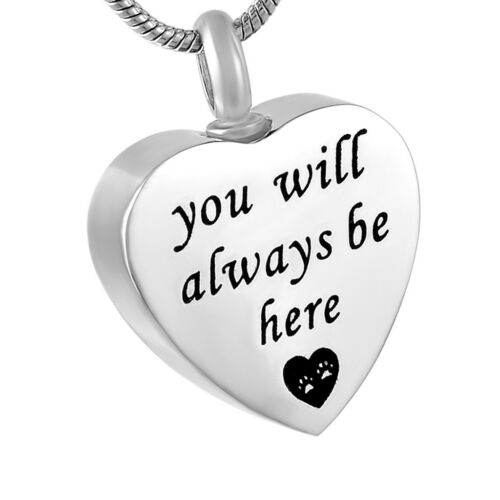 Love Pets Stainless Steel Heart Cremation Urn Ashes Pendant Chain Necklace
