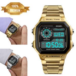 SKMEI-Men-Sport-Waterproof-Stainless-Steel-Chrono-LED-Digital-Quartz-Wrist-Watch