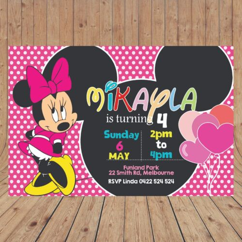 Personalised MINNIE MOUSE Kids Party Invites Invitations DIGITAL YOU PRINT