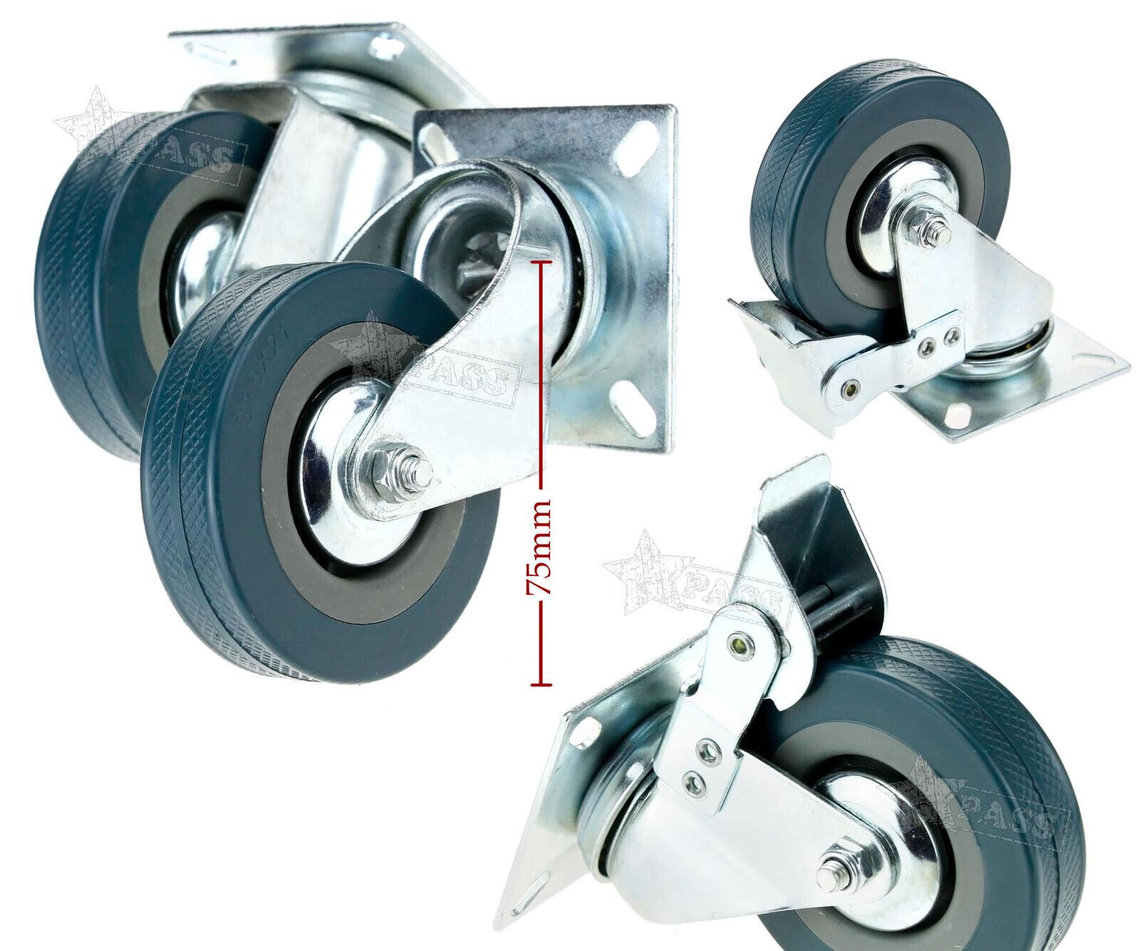 4x Heavy Duty 200kg 50mm Swivel Castor Wheels Trolley Furniture Caster I3V9