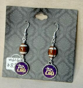 LSU-Tigers-Small-Round-Earrings-with-a-Football-Bead