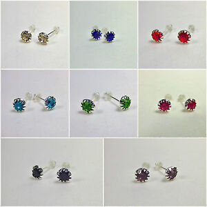Crystal-Stud-Earrings-Silver-6mm-Womens-Ladies-Jewellery