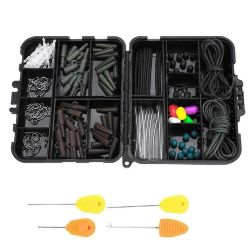 Carp Fishing Tackle Box Set Fishing Weights Safety Clips Hooks Hair Rigs❤B