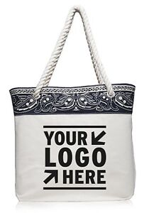 84d29126003 Details about 25 Personalized Paisley Pattern Canvas Tote Bag Printed With  your Logo / Message