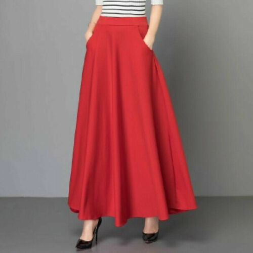 Women Waist Long Dress Vintage High Stretch Swing Skirts Flared Pleated Skater