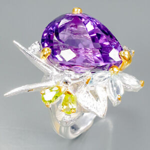 Top-color-18ct-Natural-Amethyst-925-Sterling-Silver-Ring-Size-7-75-R89398