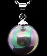 New Huge 14mm Natural Rainbow Black South Sea Shell Pearl Pendant Necklace 18""