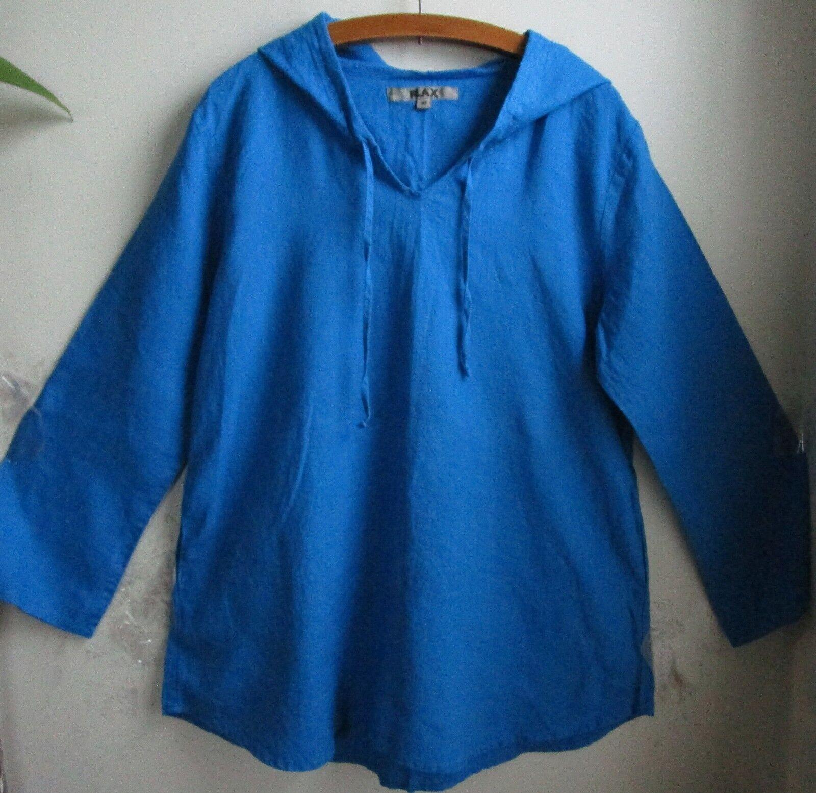 FLAX  Designs   LINEN  Hooded  tunic   Shirt    M    NWOT   Blau