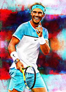 2021 Rafael Nadal Tennis Professional 6/25 Art ACEO Print Card By:Q